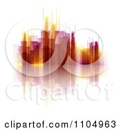 Clipart Yellow And Red Skyscrapers And Reflections On White Royalty Free Vector Illustration