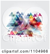 Clipart Colorful Reflective Triangle Pyramids On Gray Royalty Free Vector Illustration