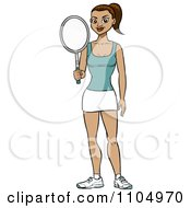Clipart Athletic Brunette Woman Holding A Tennis Racket Royalty Free Vector Illustration by Cartoon Solutions