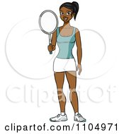 Clipart Athletic Black Woman Holding A Tennis Racket Royalty Free Vector Illustration by Cartoon Solutions