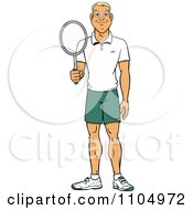 Clipart Happy White Tennis Player Man Holding A Racket Royalty Free Vector Illustration by Cartoon Solutions