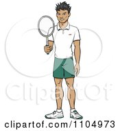 Clipart Happy Asian Tennis Player Man Holding A Racket Royalty Free Vector Illustration