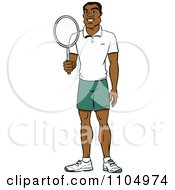 Clipart Happy Black Tennis Player Man Holding A Racket Royalty Free Vector Illustration by Cartoon Solutions