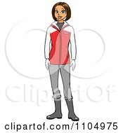 Clipart Happy White Woman In Winter Apparel Royalty Free Vector Illustration