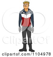 Clipart Happy White Man In Winter Apparel Royalty Free Vector Illustration