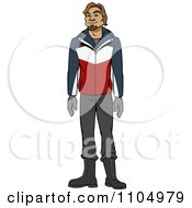 Clipart Happy Caucasian Man In Winter Apparel Royalty Free Vector Illustration