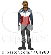 Clipart Happy Black Man In Winter Apparel Royalty Free Vector Illustration