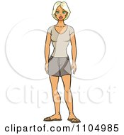 Clipart Blond Woman In Casual Shorts Royalty Free Vector Illustration by Cartoon Solutions