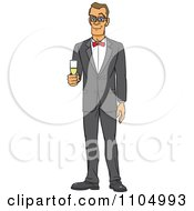 Clipart Formal White Man In A Tuxedo Holding Champagne Royalty Free Vector Illustration