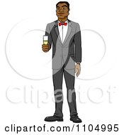 Clipart Formal Black Man In A Tuxedo Holding Champagne Royalty Free Vector Illustration