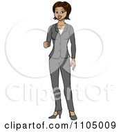 Clipart Hispanic Business Woman In A Pant Suit Holding Up Her Knuckles Royalty Free Vector Illustration by Cartoon Solutions