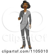 Clipart Black Business Woman In A Pant Suit Holding Up Her Knuckles Royalty Free Vector Illustration