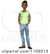 Clipart Happy Black Pregnant Woman Holding Her Baby Bump Royalty Free Vector Illustration