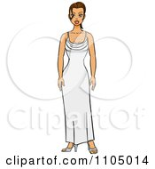 Clipart Brunette Woman Standing In A White Evening Gown Royalty Free Vector Illustration