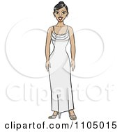 Clipart Asian Woman Standing In A White Evening Gown Royalty Free Vector Illustration