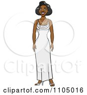 Clipart Brunette Woman Standing In A White Evening Gown Royalty Free Vector Illustration by Cartoon Solutions