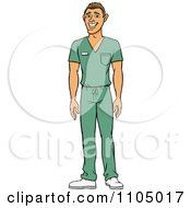 Clipart White Male Doctor Surgeon Or Nurse In Green Scrubs Royalty Free Vector Illustration by Cartoon Solutions #COLLC1105017-0176