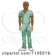 Clipart Black Male Doctor Surgeon Or Nurse In Green Scrubs Royalty Free Vector Illustration
