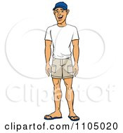 Clipart Happy Casual White Man In Shorts And A T Shirt Royalty Free Vector Illustration by Cartoon Solutions