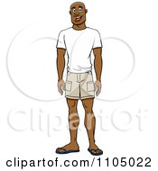 Clipart Happy Casual Black Man In Shorts And A T Shirt Royalty Free Vector Illustration by Cartoon Solutions