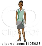Clipart Friendly Black Secretary In A Skirt Royalty Free Vector Illustration by Cartoon Solutions