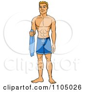 Clipart Muscular White Man In Swim Trunks Holding A Towel Royalty Free Vector Illustration