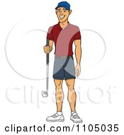 Happy White Man Holding A Golf Club