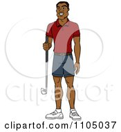Clipart Happy Black Man Holding A Golf Club Royalty Free Vector Illustration by Cartoon Solutions