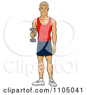 Clipart Strong White Man Lifting A Dumbbell At The Gym Royalty Free Vector Illustration