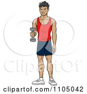 Clipart Strong Asian Man Lifting A Dumbbell At The Gym Royalty Free Vector Illustration