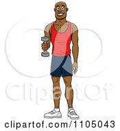 Strong Black Man Lifting A Dumbbell At The Gym