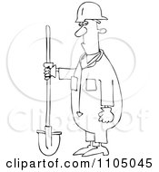 Outlined Construction Worker Man Holding A Shovel