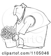 Clipart Outlined Chubby Man Leaning Over And Lifting A Potted Plant Royalty Free Vector Illustration