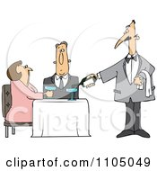 Clipart Waiter Serving Wine To A Couple At A Restaurant Royalty Free Vector Illustration by djart