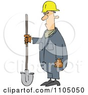 Clipart Grumpy Construction Worker Man Holding A Shovel Royalty Free Vector Illustration by djart