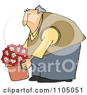 Clipart Chubby Man Leaning Over And Lifting A Potted Plant Royalty Free Vector Illustration