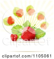 Strawberry Background With Leaves Blossoms And Copyspace 3 by merlinul