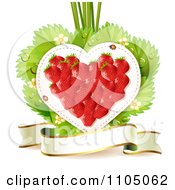 Clipart Strawberry Heart With Blossoms Leaves And A Ribbon Banner On White Royalty Free Vector Illustration by merlinul