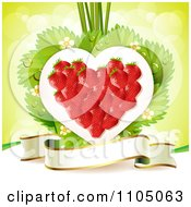 Clipart Strawberry Heart With Blossoms Leaves And A Ribbon Banner On Green Royalty Free Vector Illustration by merlinul