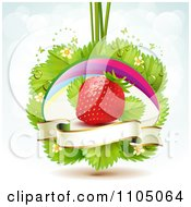 Strawberry With Dewy Leaves Blossoms Butterflies And A Blank Banner Over Blue And White by merlinul