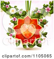 Clipart Dewy Orange Heart With Rose Petals Ladybugs Leaves And Blossoms Royalty Free Vector Illustration