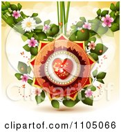 Clipart Red And Gold Heart With Butterflies Leaves And Blossoms Royalty Free Vector Illustration