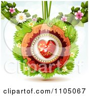 Clipart Red And Gold Heart With Leaves Ladybugs And Blossoms Royalty Free Vector Illustration