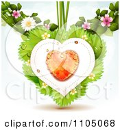 Clipart Dewy Orange Heart With Ladybugs Over Strawberry Leaves With Blossoms Royalty Free Vector Illustration