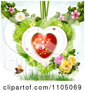 Clipart Red And Gold Heart With Ladybugs Over Leaves With Blossoms Roses Grass And A Butterfly Royalty Free Vector Illustration