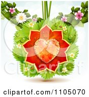 Clipart Dewy Orange Heart Rose Petals On Leaves And Blossoms Royalty Free Vector Illustration