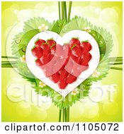 Clipart Strawberry Heart With Dewy Leaves Blossoms And Twine On Green Royalty Free Vector Illustration by merlinul