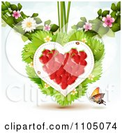 Clipart Strawberry Heart With Dewy Leaves Blossoms And A Butterfly On White Royalty Free Vector Illustration by merlinul