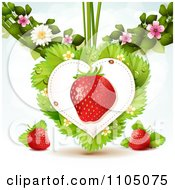 Clipart Strawberry Heart With Dewy Leaves Blossoms On White Royalty Free Vector Illustration by merlinul