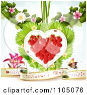 Clipart Strawberry Heart With Dewy Leaves Blossoms And A Valentines Day Banner Royalty Free Vector Illustration by merlinul